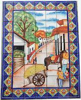 # 48 Mexican Talavera Mosaic Mural Tile Handmade  Backsplash straw carriage
