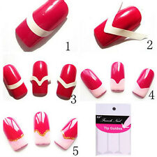 7 Packs French Manicure Nail Art Tips Fringe Guides Sticker DIY Stencil Form