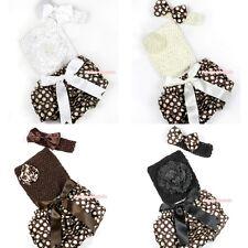 Newborn Baby Girl  Brown Goldenrod Dots Bloomer Crochet Tube Top 3pc Set NB-3Y