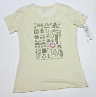 Woman's COLUMBIA Cream T-Shirt Top Camping Short Sleeve Size Medium M NWT