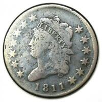 1811 Classic Liberty Head Large Cent 1C - Fine Details - Rare Date Coin!