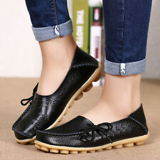 Women's Flat Leather Shoes Driving Loafers Lazy Peas Moccasin Pierced 20 Color