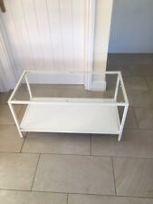 Ikea Glass Top Coffee Table   White with clear glass top