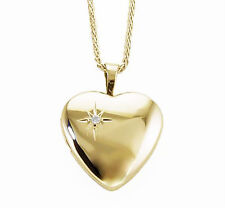 Gold Locket 14K Yellow gold Bright Polished Heart Locket w/Diamond Accent 3/4""