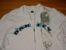 Oakley Men Full Zip Athletic Track Jacket White navy Logo Cotton Muscle-Fit XXL