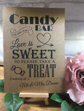 Personalised Sweet Table Cart Candy Bar Wedding Sign Recycled Kraft Card Rustic
