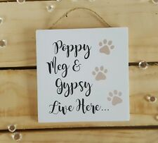Handmade plaque sign plaque sign present dog car names paw prints animal lovers