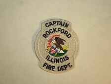Vintage Captain Rockford Fire Department Illinois Embroidered Iron On Patch