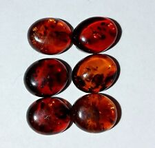 Designer dream! Natural Baltic Amber oval cabochon size 8 x 10 mm lot of 6