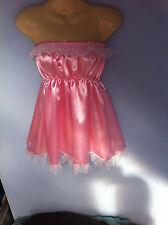 Satén rosa Vestido Adulto Baby Fancy Dress Sissy Mucama Francesa De Cosplay en el pecho 36-52