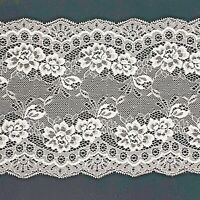 Pale Pink Floral Flat Lace Double Edge Trimming 6.5 inch 16cm 160mm Cut to order