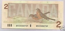 1986 UNC  Canada 2 $ Bill  Prefix Bonin/Thiessen BRX 3440749 Replacement 55cA