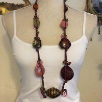 Vintage large ceramic & wood bead necklace