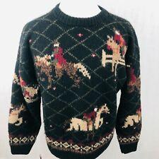 Eddie Bauer Equestrian Sweater Large Mens Black Vintage Wool Horse Riding
