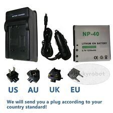 Battery Charger for Casio Np-40 Np40 Exilim Ex-z1000