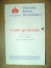 Theatre Royal Programme-Flora Robson,Oscar  in CLOSE QUARTERS-W O Somin;G Lennox