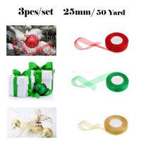3PCS/SET  Roll of 50 Yard  Woven Dege 25mm Sheer Organza Ribbon Red,Green,Gold