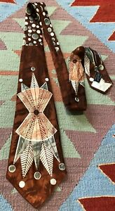 VTG 40s 50s Swing Tie Silk Atomic Rockabilly Geometric Haband African Jaquard