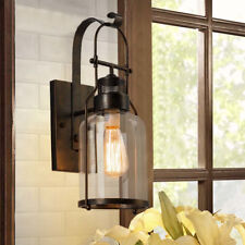 Rustic Industrial Metal Wall Lamp Sconce Clear Glass Wall Fixture Lantern Shade