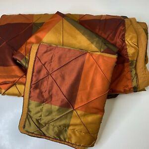 king duvet sham set red orange shinny metallic button closure cotton poly blend