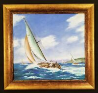 Antique Yacht Race Painting Schooner America's Cup Original Oil Painting Boat