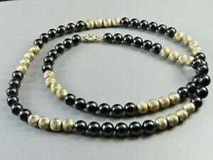 STERLING SILVER Beaded Necklace BLACK ONYX BEADS Diamond Cut FLUTED STATIONS