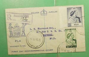 DR WHO 1948 FIJI FDC KGVI SILVER JUBILEE CACHET COMBO NAUSORI  g14570