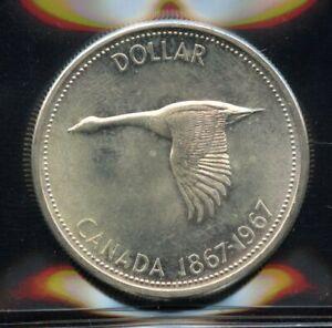 1967 Canada Centennial Silver Dollar - ICCS MS-63 Cert#XUP432