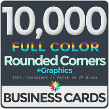 10,000 Full Color Business Cards BothSides ROUNDED CORNERS FREE DESIGN & SHIP