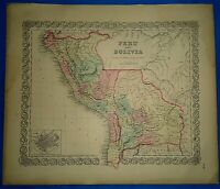 Vintage 1857 MAP ~ PERU - BOLIVIA ~ Old Antique Original Colton's Atlas Map