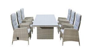 Aluminium Sitzgarnitur Gartenmöbel Essgruppe Sitzgruppe 6+1 Luxus Garten Set