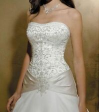 ALLURE WEDDING GOWN, BEADED BODICE, STRAPLESS, IVORY, SIZE 14