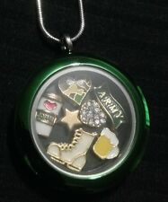 HQ TWIST FLOATING CHARM LOCKET ARMY BOOT HEART CAMOUFLAGE BEER LOVE 20PC CHARMS
