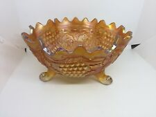 Fenton Grape & Cable Fruit Bowl with Persian Medallion Interior in Marigold