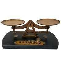 Antique Wood Based Weights Balance Scales Vintage Brass Home Decor Accessory