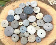 "30 Center Drilled (1mm) Flat Round Beach Stones Rocks (1/4"" - 1"") Multi-Colors!"