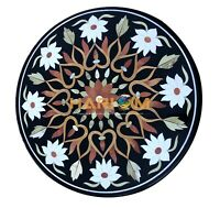 """24"""" Black Marble Round Coffee Table Top Marquetry Mosaic Inlaid Home Decor B014"""