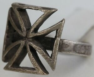 RING German Iron Cross STERLING Silver 800 Jewelry Size US 9 Russian SAVE &BLESS