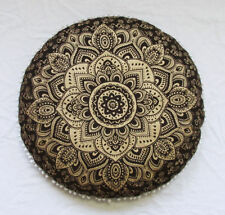 "24"" Black Gold Ombre Mandala Decorative Floor Pillow Cushion Cover Round Indians"