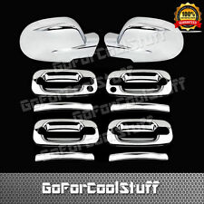 For Chevy Silverado 99-06 4Drs Handle W/Pskh+Full Mirror 2Pc Chrome Covers