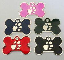 Pet Tags~Large & Small Silver Paw Print Bones & Large Paw Print Discs Engraved