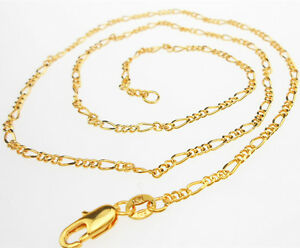 "Wholesale Sale 5PCS 16""-30"" Jewelry 18K GOLD FILLED Figaro Link Chains Necklace"