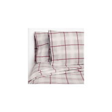 NEW Member's Mark 100% Cotton Flannel Sheet QUEEN Grey Red Design FREE SHIPPING
