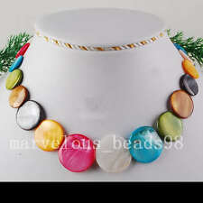 """6~30x4mm Multicolor Mother of Pearl Shell Beads Necklace 18"""" G2130"""