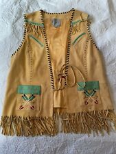 Double D Ranch Yoakum, Texas Beaded Leather Vest Medium Buckskin