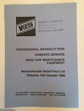 VICTA (UK) LTd Professional Grasscutters Mowers Ryan Turf Retail Price List 1986