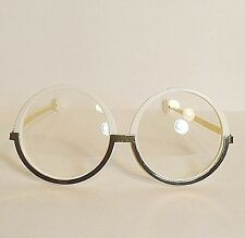 Vtg Bausch & Lomb Gibby Jackie O. Style Gold Oversize Round Eyeglasses Frames