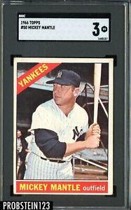 1966 Topps #50 Mickey Mantle New York Yankees HOF SGC 3 VG