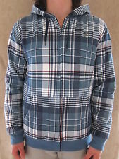 DC SHOES Pikenson Blue Plaid Lined Zip Up Hoodie Sweat Shirt Size MEDIUM NWT