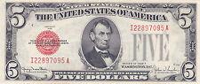$5.00 USA FIVE DOLLAR SILVER CERTIFICATE Series 1928 F  - UNC